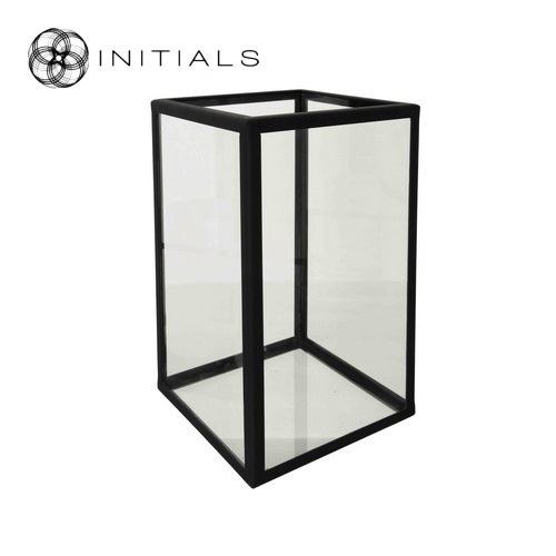 Candleholder Clear Glass With Zinc Frame Black Structure - Haans ...