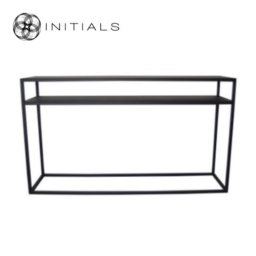 Storage Table Iron Structure Matt Black With Connected Plate Rectangular