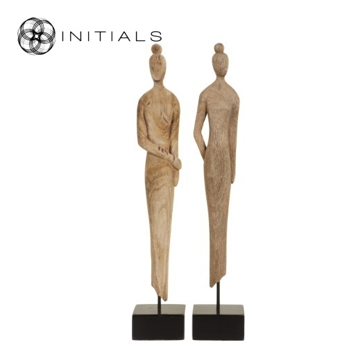 Set 2 pieces - Female Sculpture Mango Wood