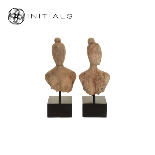 Set 2 pieces - Ladies Head Sculpture Mango Wood