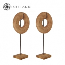 Object Wheel Mango Wood Natural on Iron Stand