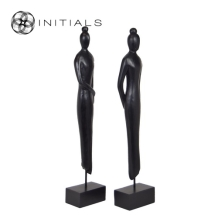 Set 2 pieces - Female Sculpture Mango Wood Black