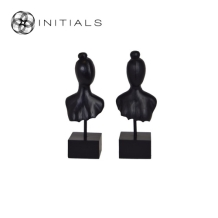 Set 2 pieces - Ladies Head Modern Sculpture Matt Black
