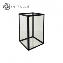 Candleholder Clear Glass With Zinc Frame Black Structure