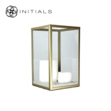 Candleholder Clear Glass With Zinc Frame Matt Gold