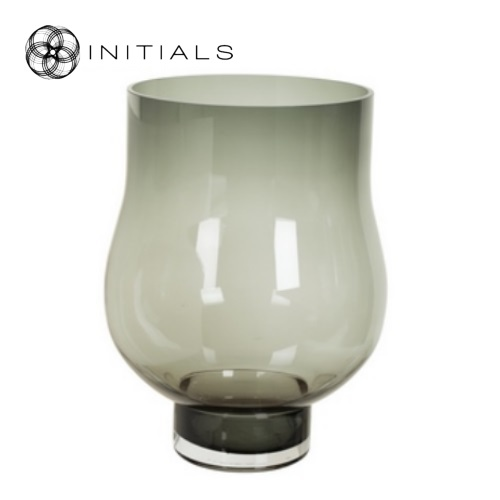 Candleholder Bulb Glass Grey Round