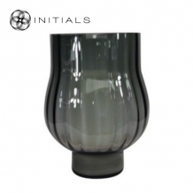 Vase | Candleholder Bulb OPTIC Smoke Glass
