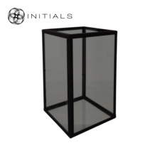 Showcase | Candleholder Smoke Glass With Zinc Frame Structure Matt Black