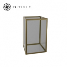 Showcase | Candleholder Smoke Glass With Zinc Frame Structure Matt Gold