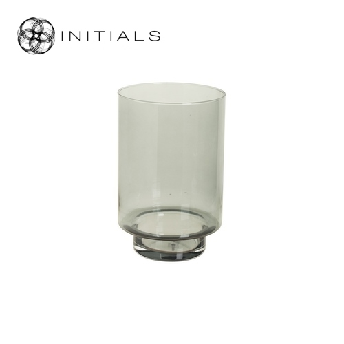 Candleholder Glass Smoked Round
