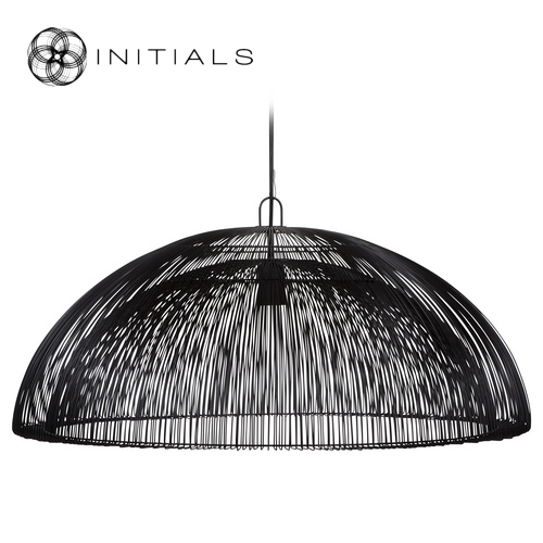 Hanging Lamp Dome Iron Wire Black