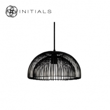 Hanging Lamp Small Moire Dome Iron Wire Black