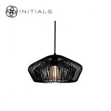 Hanging Lamp Small Moire Worker Iron Wire Black
