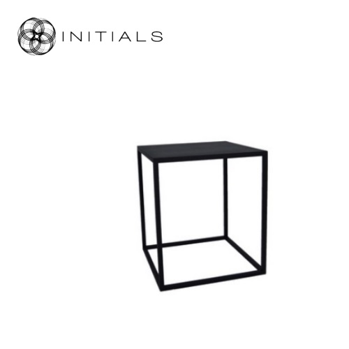 Table Iron Structure Matt Black With Connected Plate Square