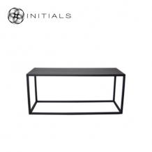 Coffee Table Iron Structure Matt Black With Connected Plate Rectangular