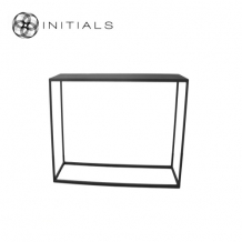 Side Table Iron Structure Matt Black With Connected Plate Rectangular