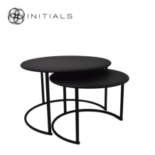 Set 2 pieces - NEW Coffee Table Iron Structure Matt Black With Connected Plate