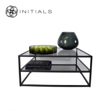 Coffee Table Metro 2 Smoke glass Iron Black