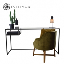 Desk / Side Table Broadway 2 Smoke glass Iron Black