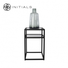 Bed Side Table Metro 2 Smoke glass Iron Black