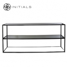 Side Table Broadway 2 Smoke glass Iron Black