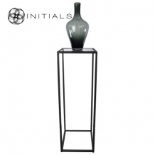 Table Skyline Smoke glass Iron Black Square