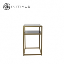 Bed Side Table Iron Structure Matt Gold With Smoke Glass Plate