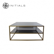 Coffee Table Metro 3 Smoke glass Iron Gold