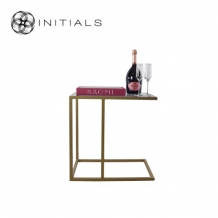 Bench Table High Iron Structure Matt Gold With Smoke Glass Plate