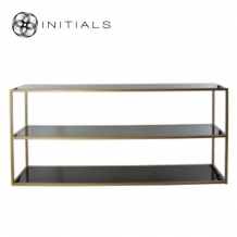 Side Table Iron Structure Matt Gold With Smoke Glass Plate Rectangular