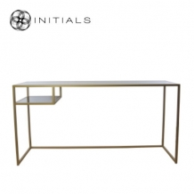 Desk / Side Table Broadway 2Smoke glass Iron Gold