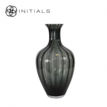 Vase Flared Mouth OPTIC Smoke Glass