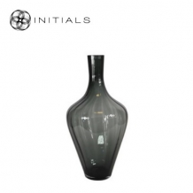 Vase Tapered Neck OPTIC Smoke Glass