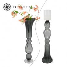 Vase | Candleholder Classic OPTIC Glass Smoked High