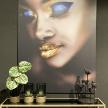 Walldecoration Dark-skinned Woman Make-up Matt Aluminum